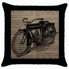 Bicycle Letter Throw Pillow Case (black) by vintage2030
