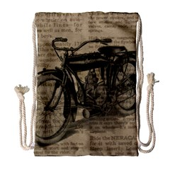 Bicycle Letter Drawstring Bag (large) by vintage2030