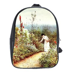 Lady And Scenery School Bag (large) by vintage2030