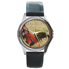 Rooster Round Metal Watch by vintage2030