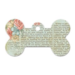 Rose Book Page Dog Tag Bone (two Sides) by vintage2030