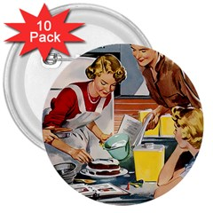 Retro Baking 3  Buttons (10 Pack)