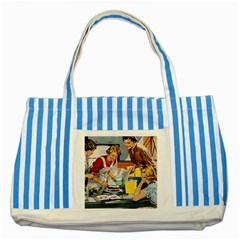 Retro Baking Striped Blue Tote Bag by vintage2030