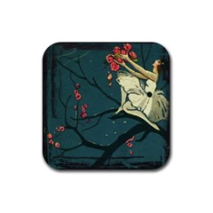 Girl And Flowers Rubber Square Coaster (4 Pack)  by vintage2030