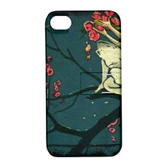 Girl And Flowers Apple Iphone 4/4s Hardshell Case With Stand by vintage2030