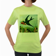Blue Bird Women s Green T-shirt by vintage2030