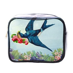 Blue Bird Mini Toiletries Bag (one Side) by vintage2030