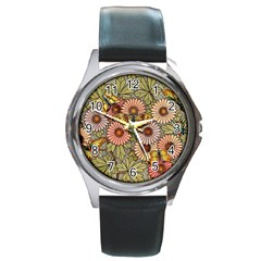 Flower And Butterfly Round Metal Watch by vintage2030