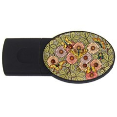 Flower And Butterfly Usb Flash Drive Oval (2 Gb) by vintage2030
