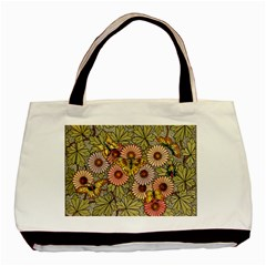Flower And Butterfly Basic Tote Bag (two Sides) by vintage2030