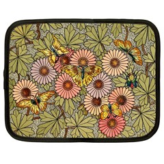 Flower And Butterfly Netbook Case (xxl) by vintage2030