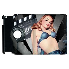 Retro Pin Up Girl Blue Apple Ipad 2 Flip 360 Case by vintage2030