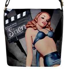 Retro Pin Up Girl Blue Flap Closure Messenger Bag (s) by vintage2030