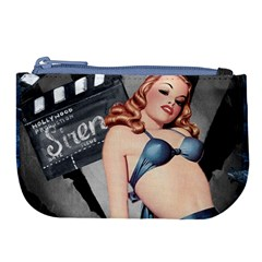 Retro Pin Up Girl Blue Large Coin Purse by vintage2030