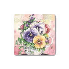 Lowers Pansy Square Magnet