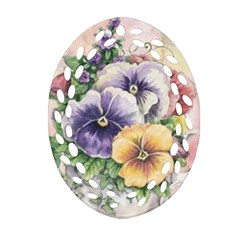 Lowers Pansy Oval Filigree Ornament (two Sides)