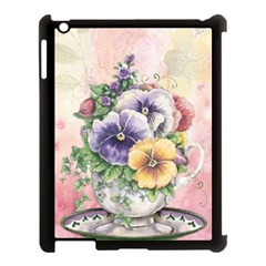 Lowers Pansy Apple Ipad 3/4 Case (black)