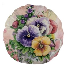 Lowers Pansy Large 18  Premium Round Cushions