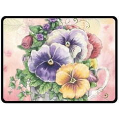 Lowers Pansy Double Sided Fleece Blanket (large)
