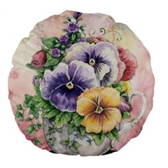 Lowers Pansy Large 18  Premium Flano Round Cushions