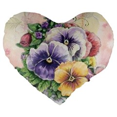 Lowers Pansy Large 19  Premium Flano Heart Shape Cushions by vintage2030
