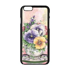 Lowers Pansy Apple Iphone 6/6s Black Enamel Case