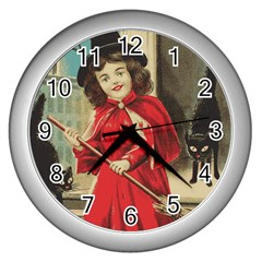 Haloweencard3 Wall Clock (silver)