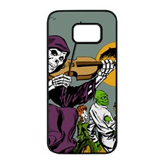 Playing Skeleton Samsung Galaxy S7 Edge Black Seamless Case