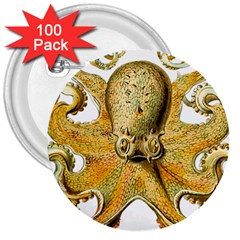 Gold Octopus 3  Buttons (100 Pack)
