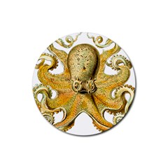 Gold Octopus Rubber Coaster (round)