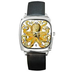 Gold Octopus Square Metal Watch