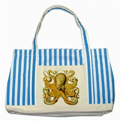 Gold Octopus Striped Blue Tote Bag