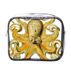 Gold Octopus Mini Toiletries Bag (one Side)
