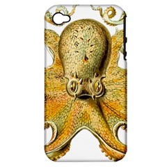 Gold Octopus Apple Iphone 4/4s Hardshell Case (pc+silicone)