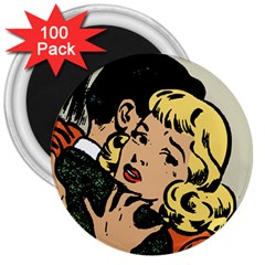 Hugging Retro Couple 3  Magnets (100 Pack)