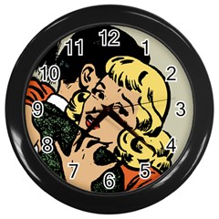 Hugging Retro Couple Wall Clock (black)