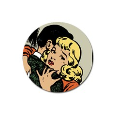 Hugging Retro Couple Magnet 3  (round) by vintage2030