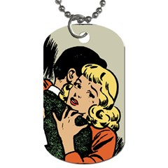 Hugging Retro Couple Dog Tag (one Side)