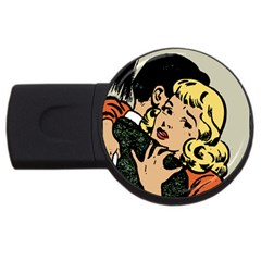 Hugging Retro Couple Usb Flash Drive Round (4 Gb) by vintage2030