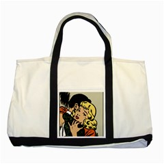 Hugging Retro Couple Two Tone Tote Bag