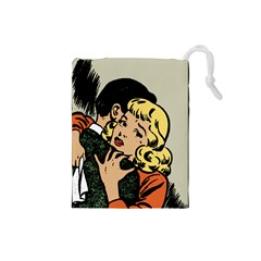 Hugging Retro Couple Drawstring Pouch (small) by vintage2030