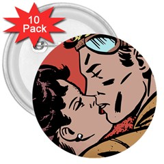 Retrocouplekissing 3  Buttons (10 Pack)