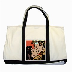 Retrocouplekissing Two Tone Tote Bag