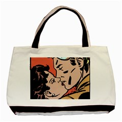 Retrocouplekissing Basic Tote Bag (two Sides)