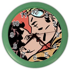 Retrocouplekissing Color Wall Clock
