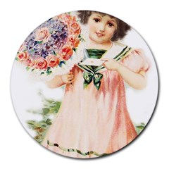 Girl 1731727 1920 Round Mousepads by vintage2030