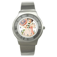 Girl 1731727 1920 Stainless Steel Watch by vintage2030
