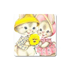 Rabbits 1731749 1920 Square Magnet by vintage2030