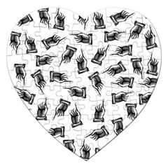 Pointing Finger Pattern Jigsaw Puzzle (heart) by Valentinaart