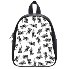 Pointing Finger Pattern School Bag (small) by Valentinaart